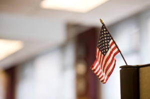 american flag in office